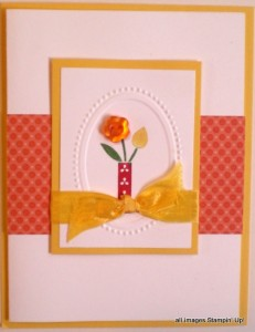 handmade card with bright blossoms