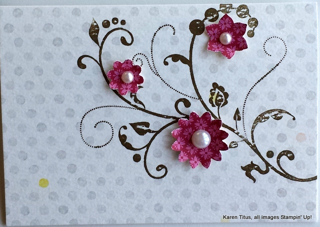 Quick and easy handmade card with flowering flourishes