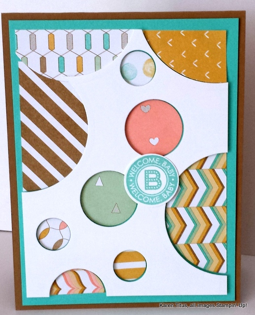 handmade card with circles