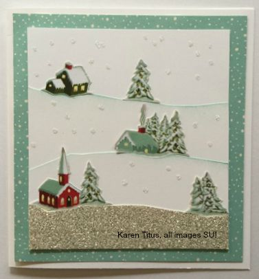 vintage winter village card