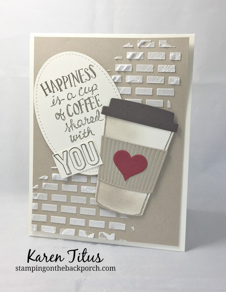 coffee cup card with embossing paste