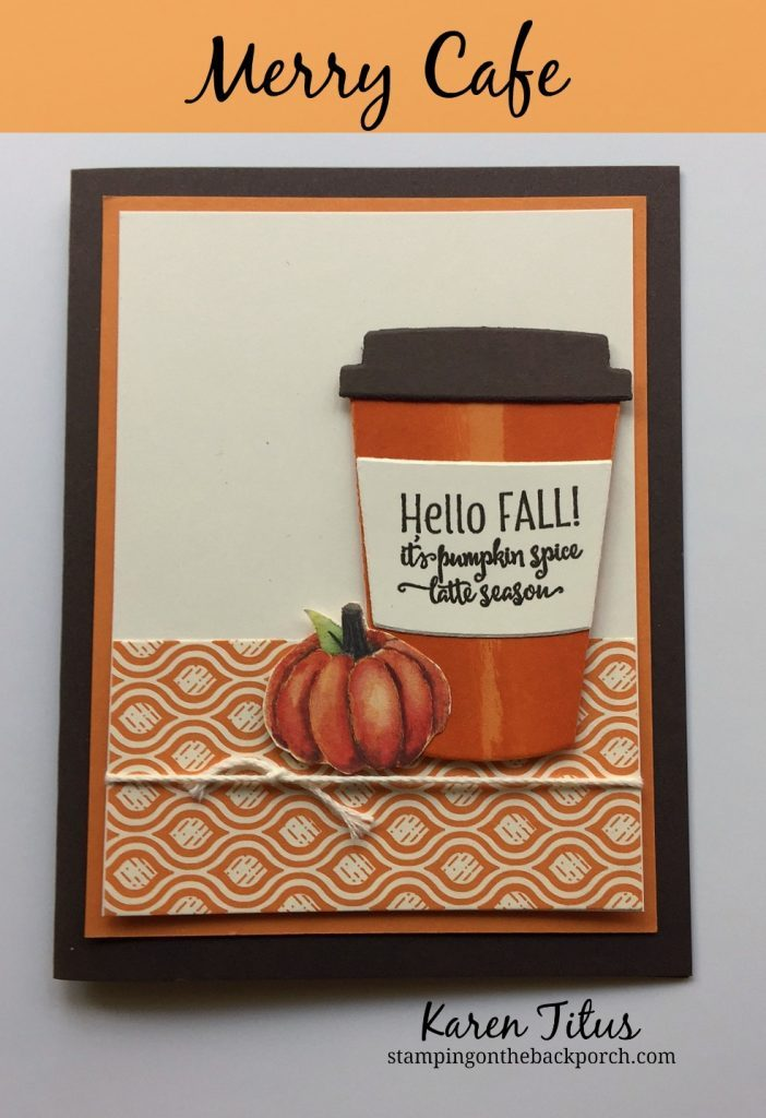 autumn coffee card with streaking technique and merry cafe stamp set