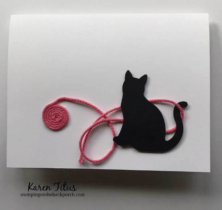 quick cat card with cat playing with yarn