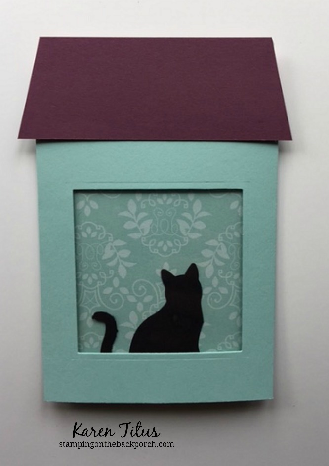 quick & easy pull up card fold with a cat in the window