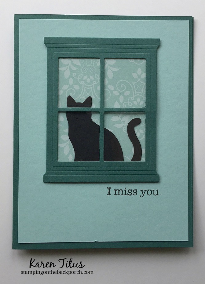 cat punch with hearth & home thinlits for a cat sitting in a window card