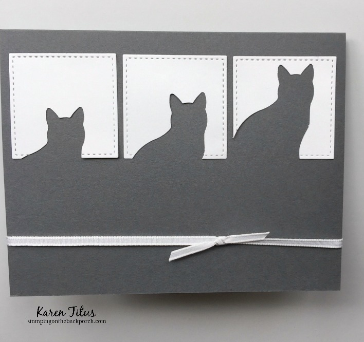 quick card using the cat punch and Stitched Shapes