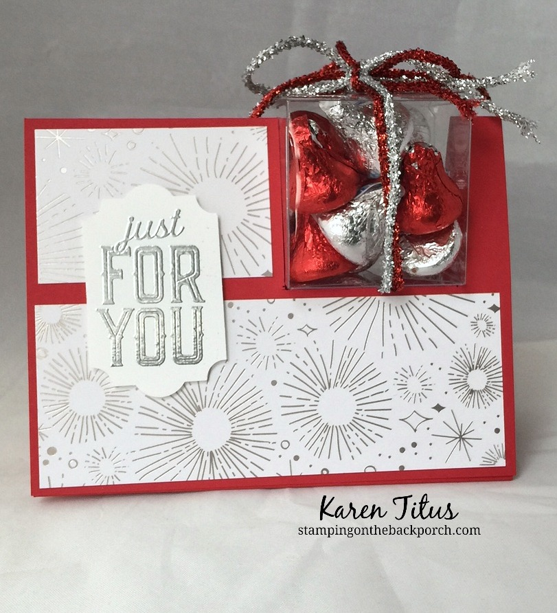 treat box on a card with stampin up