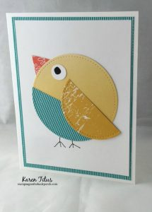 Chick Punch Art Card with a Quilted Look