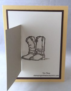 cowboy boots behind the Barn Door card