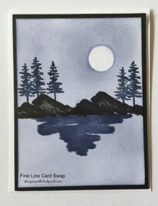 striking scenery card in navy and black