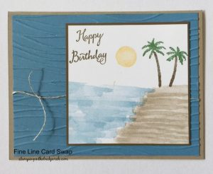 tropical beach handmade card