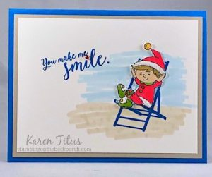 cute elfie card stampin up