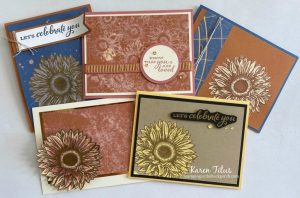 One stamp set five cards