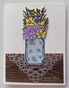 Jar of Flowers stamp set with Shimmer Paint