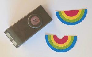 make a rainbow card from circle dies