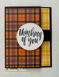 plaid paper fun fold card