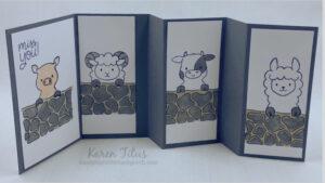 fun fold card with Peekaboo Farm animals