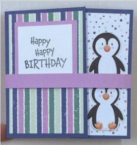 fun fold card with Penguin Playmates Designer Series Paper