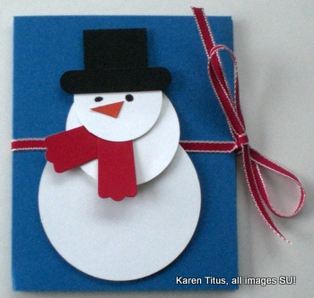 punch art snowman gift card holder