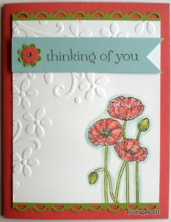 Pleasant Poppies hand made card