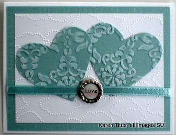 Stampin Up Wedding Card with Two Hearts KarenTituscom